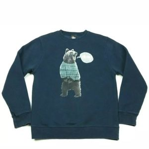 Stussy Navy Blue Fleece Bear Graphic Pullover Crew
